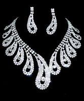 Wedding Bridal Prom Water Drop Austrian Crystal Necklace Earrings Jewelry Set