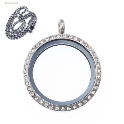 Cristal Mémoire Vivante en verre rond Médaillon Collier Pendentif Fit Flottant Charms