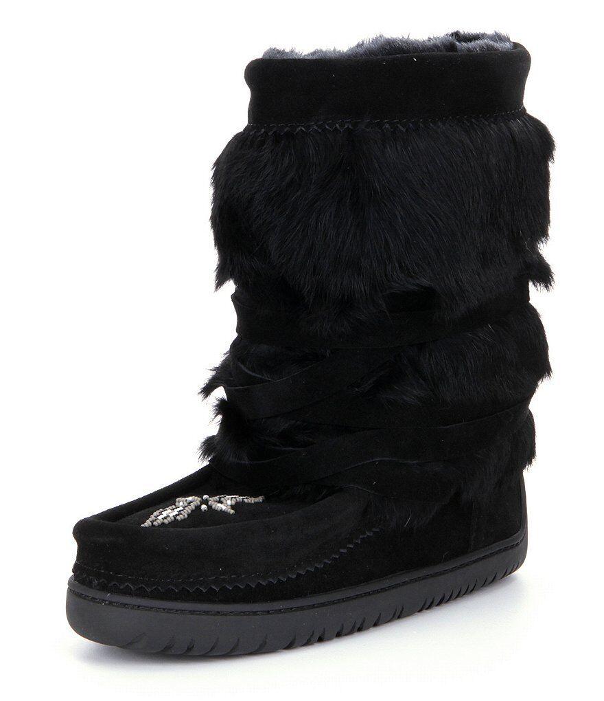 New Manitobah Mukluks Suede Rabbit Fur Half-Wrap Cold-Weather Boots Black Size 6