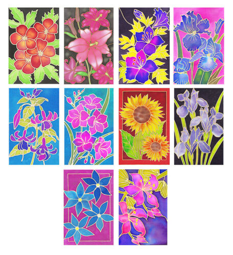 Silkcraft Silk Painting Gutta Outlines Card making Flower 20 Pack-use with frame