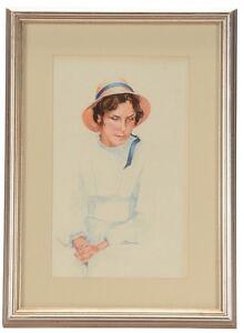 Beautiful Original American Portrait WATERCOLOR PAINTING by CRAIN Cincinnati Oh