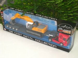 LB-1-64-Construction-SCANIA-Low-Loader-Truck-Carrier-W-Excavator-Diecast-Car