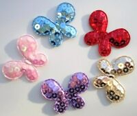 50 Sequin Fabric Butterfly Sparkly Applique/bow/motif/trim/sewing/sequined H55