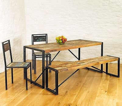 Urban Chic dining room table solid reclaimed wood furniture