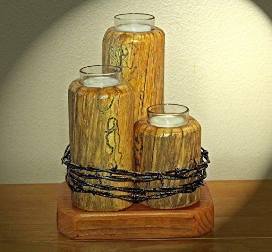 Three Tierot Rustic Candle Holder w BarBett Wire Southwestern Western Cowboy