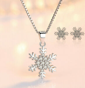 925-Sterling-Silver-Snowflake-Pendant-Necklace-Stud-Earrings-Womens-Jewellery-UK