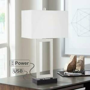 Details About Modern Table Lamp With Usb Outlet Steel Open Rectangle For Living Room Bedroom