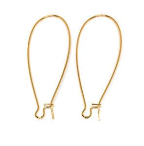 long kidney earwires earring hooks gold plated stainless steel
