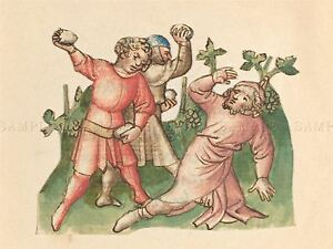AUSTRIAN-15TH-CENTURY-STONING-OLD-ART-PAINTING-POSTER-PRINT-BB4914A