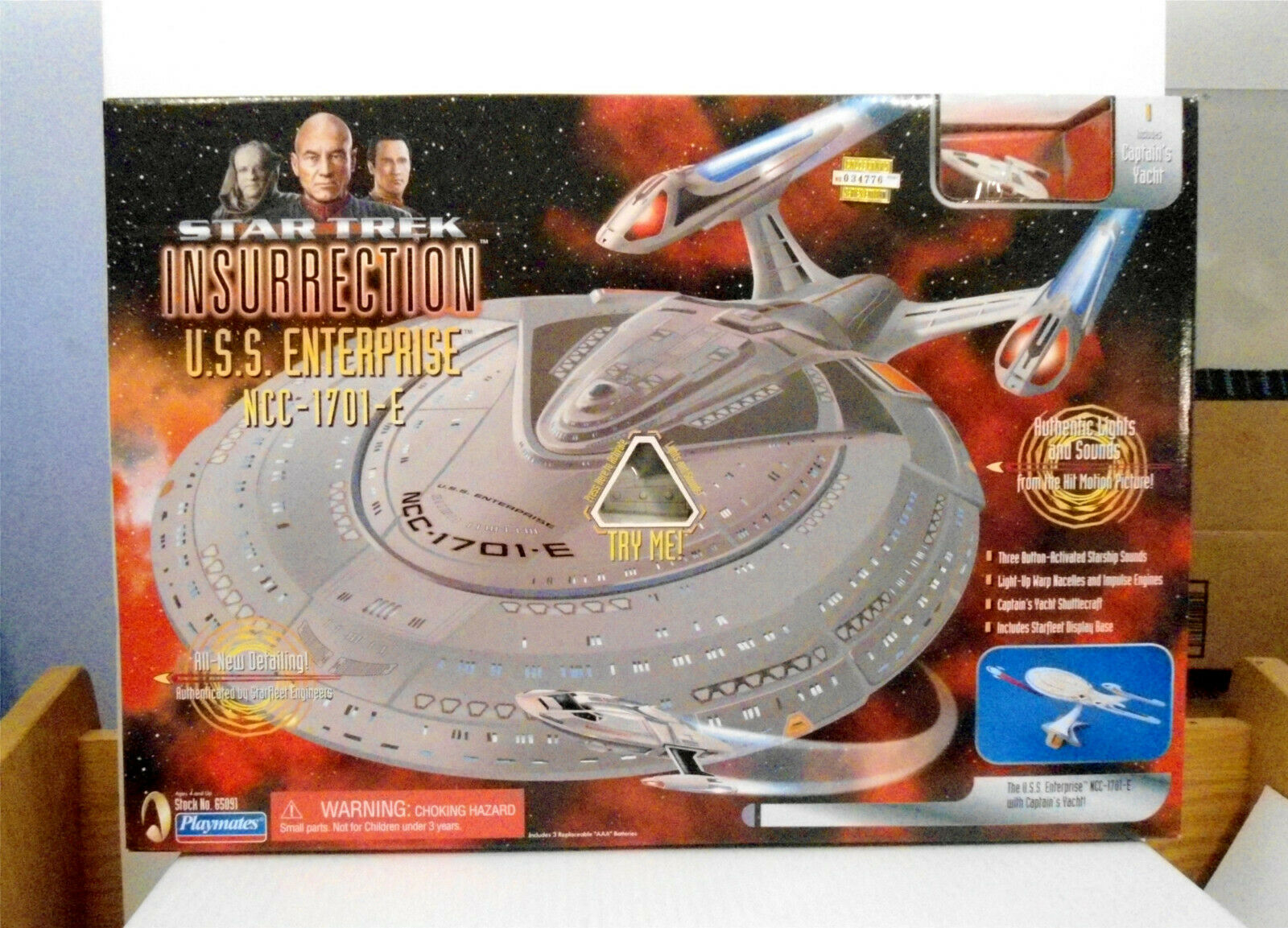 PLAYMATES STAR TREK INSURRECTION U.S.S. ENTERPRISE NCC-1701-E TOY MINT