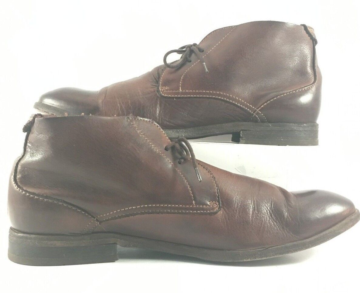 Hudson Dark Brown Leather Chukkas Lace Up Boots Mens Size M
