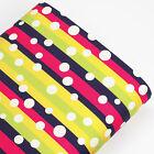 Cotton Fabric per Fat Quarter White Retro Polka Dot Spot Striped FabricTime VK56