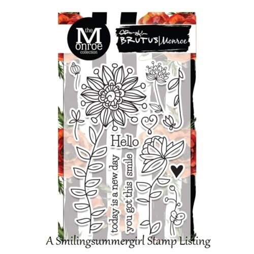 New BRUTUS MONROE Cling Rubber Stamp Bountiful Botanical Set of 13 Flower /& Word