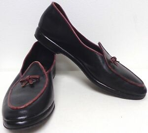 798ef8f9fa9 Image is loading BELGIAN-SHOE-VNTG-BLACK-LEATHER-BURGUNDY-TRIM-LEATHER-