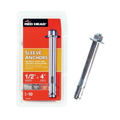 2 x 10-Pack Red Head 1//2 in Hex-Nut-Head Sleeve Anchors FAST Shipping x 4 in