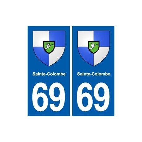 69 Sainte-Colombe blason autocollant plaque stickers ville droits