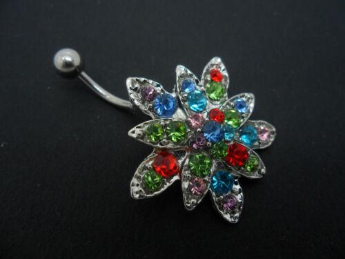 Nueva. Un colorido Cristal Flor en forma de acero inoxidable barra de vientre ombligo