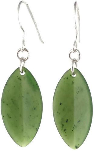 Frisé véritable vert naturel jade jade Leaf Dangle Boucles D/'Oreilles Finition Matte