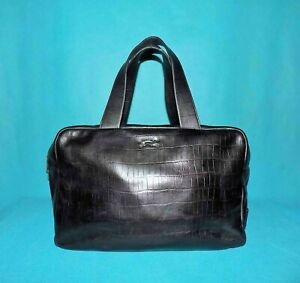BIMBA & LOLA sac en cuir noir porté main format A4