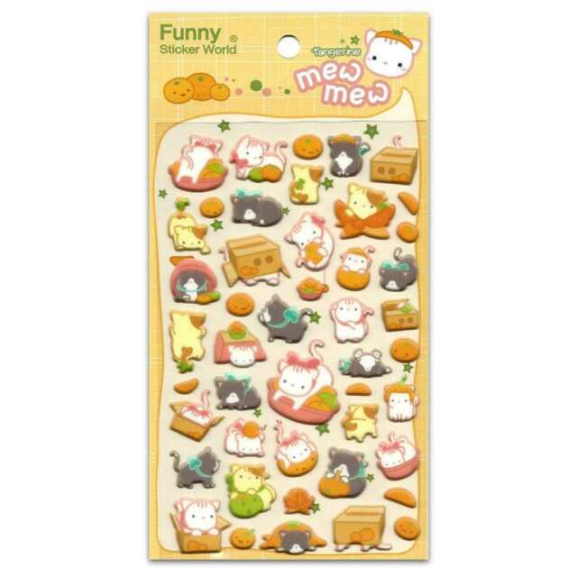 Cute Cat Stickers Sheet Animal Puffy Vinyl Craft Scrapbook Tangerine