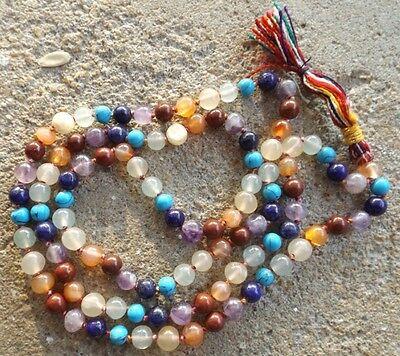 Chakra gemstone japa mala beads 108 beads ~ meditation, prayer, chakra healing