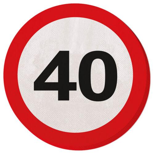 40TH Fiesta de Cumpleaños 20 Papel Servilletas edad señales de tráfico
