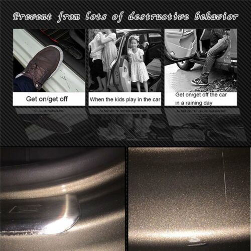 4X Car Accessories Door Sill Scuff Pedal Protect Carbon Fiber Sticker Black KIT