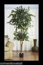 6ft Silk Faux Ficus Tree Home Decor Natural Green Nature Sturdy Tall Fake Plant