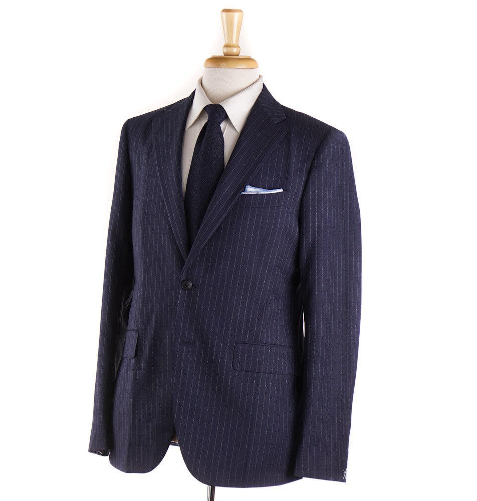 NWT  BOGLIOLI 'Sforza' Slate bluee Stripe Year-Round Wool Suit 40 R (Eu 50)
