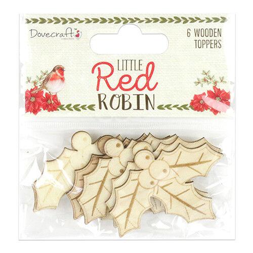 Dovecraft Little Red Robin Bois Holly Toppers Idéal Pour Cartes et Artisanat