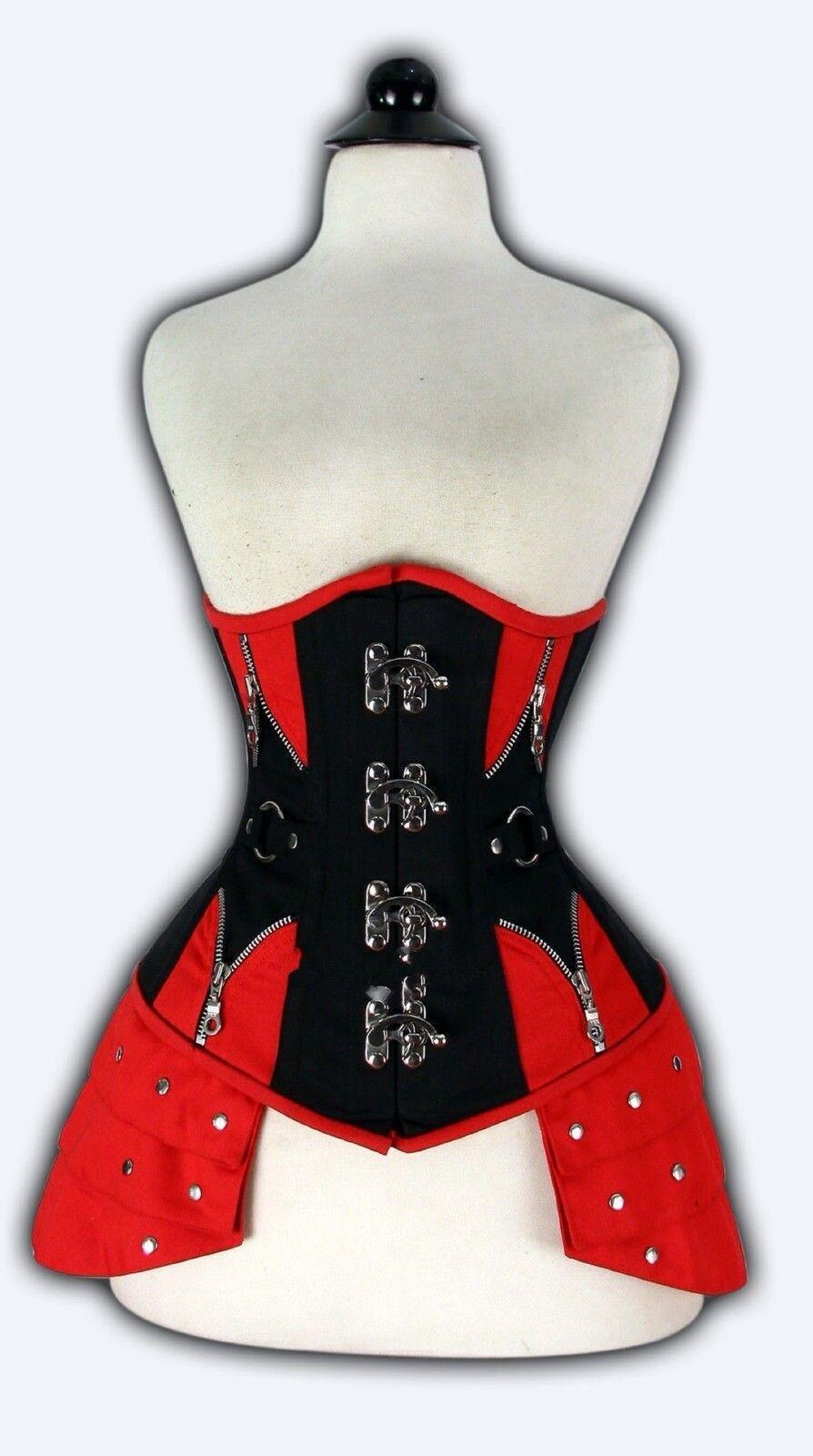 rot schwarz Denim Jeans Sous La Poitrine Corset Real Steel Bones lacets dos 2XS  7XL