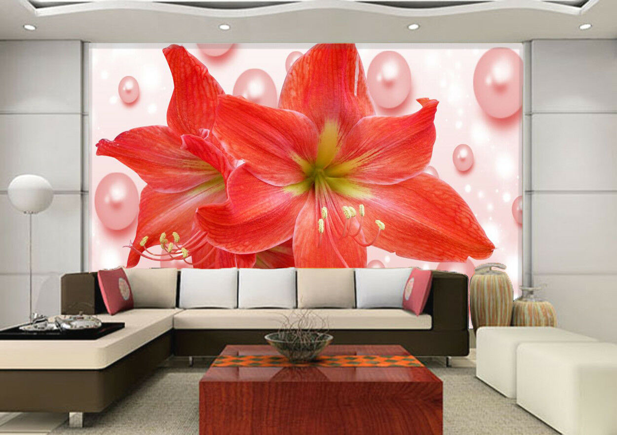 3D Pearls ROT Lily 77 Wall Paper Murals Wall Print Wall Wallpaper Mural AU Kyra