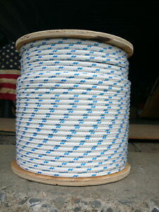 Sailboat-Rigging-Rope-3-8-034-x-26-039-White-Blue-Double-Braided-Sheet-Halyard-Line