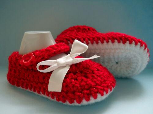 Handmade crochet//Tricot Noël Bébé Fille Brillant Rouge Chaussures//Chaussons 4 Tailles