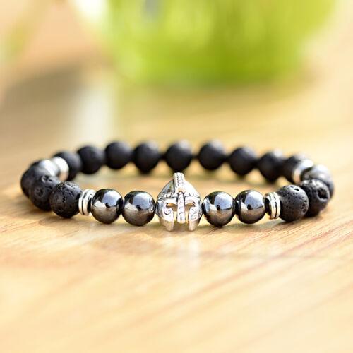 8 Mm Hématite Naturelle Lava Stone Bracelet Argent or Casque Men/'s Charm Bracelets