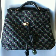 Brand New Marc Jacobs Black Leather Bag w/Green & Purple Accents!!