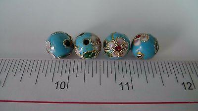 Metal beads, Cloisonne Beads, Enamel Necklace Spacer Decoration Charm 12mm 10pcs