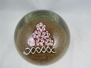 Vintage-Murano-Fratelli-Toso-Rose-Millefiori-Art-Glass-Paperweight-w-Label