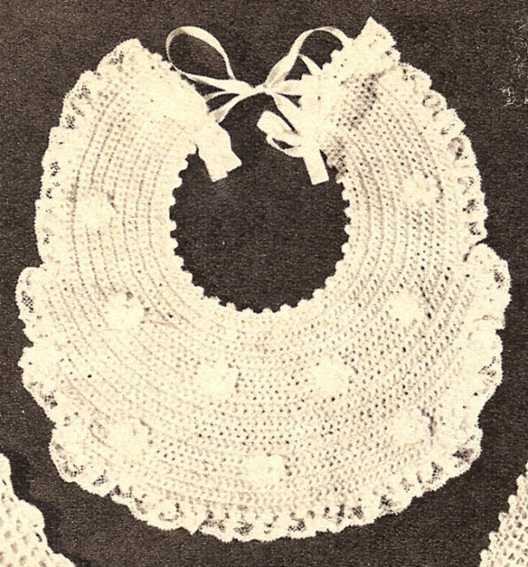 Vintage Antique CROCHET BABY BIB Pattern Fancy Easy