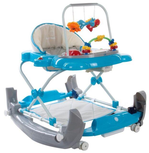 Babygeher//Lauflernhilfe//Gehfrei Blau mit Spielcente+Wiege Neu