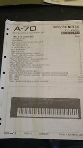 Roland A-70 Owners Manual w/service notes, Used But In Good Condition
