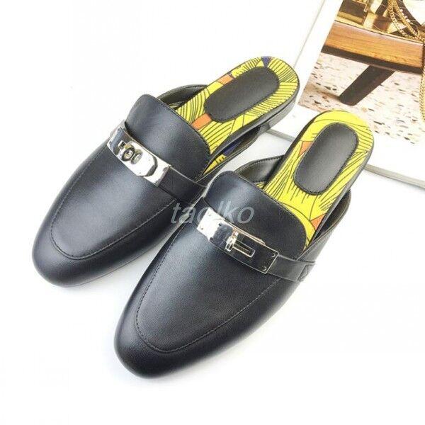 Donna Slip On Slippers Casual Loafers Mules Retro Flats Soft Pelle Scarpe Taglia