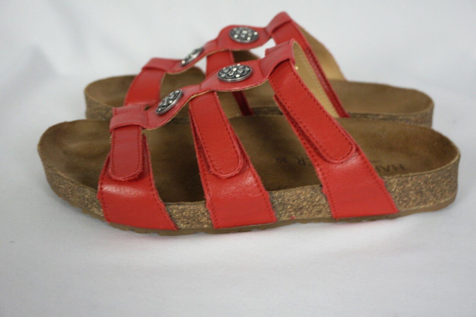 Haflinger ALICE Pandora Red Leather Strappy Jewel Sandals Slides Sz 39   US 8