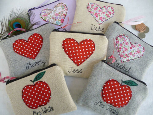 Personalised Teacher Purse or Pencil Case Heart or Apple /& Name Thank You Gift