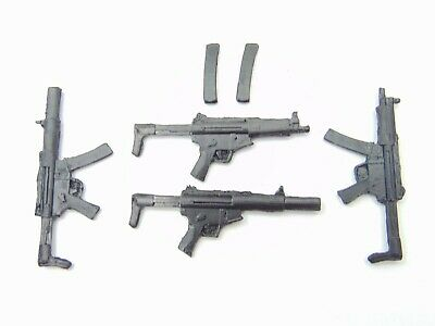 """Custom Weapons 1:12 Scale 6/"""" Figure 8x MP5 With Stock Variation Injection Molded"""