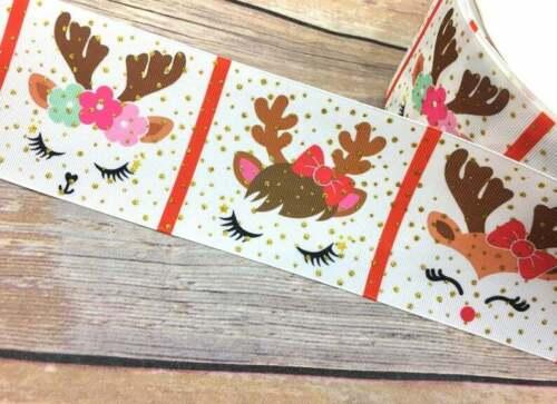 """3/"""" Christmas  Reindeer Unicorn Face Glitter Grosgrain Ribbon USA SELLER"""