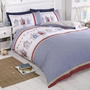 Beach-Hut-Set-Housse-de-Couette-Double-Bord-Mer-Literie-Rouge-Bleu-Blanc