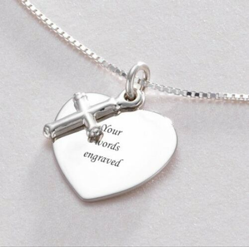 Engraved Heart with Cross Necklace Free Engraving on Sterling Silver Pendant
