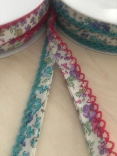 14MM FOLDED Cotton lace Edge 1 METER OF Folded Bias Binding FLORAL DESIGN