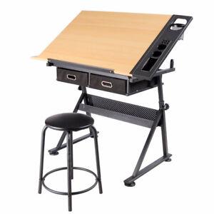 Zeichentisch-Arbeitstisch-Schreibtisch-Architektentisch-neigbar-mit-Hocker